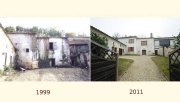 Side buildings of the hamlet in 1999 and 2011 after their exemplary renovation, now a family suite in the vineyard of Cognac in the Charente