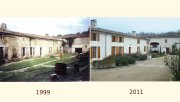 The inner yard of the hamlet in 1999 and 2011 after its exemplary renovation, now a guest house in the vineyard of Cognac in the Charente